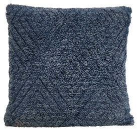 Square Cotton Blend Knit Pillow with Diamond Pattern