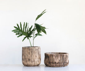 Tall Paulownia Wood Planter with Carved Fluted Design