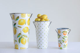 Metal Buckets with Lemons & Oranges (Set of 3 Sizes/Designs)