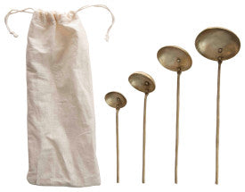 Brass Ladles with Round Handles & Hammered Texture (Set of 4 Sizes in Drawstring Bag)