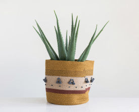 Mustard Jute Rope Basket with Stripes & Blue Tassels