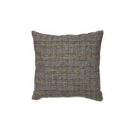 Reversible Square Grey Plaid Wool Blend Pillow with Mustard Accents & Solid Black Velvet Back