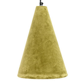 Cone Shaped Cotton Velvet Pendant Light with Handmade Paper Lining & 6' Cord (Hardwire Only)