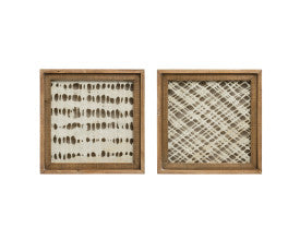 Handmade Paper Wall Décor with Square Wood Frame (Set of 2 Styles)
