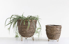 Natural Bamboo Baskets with Clothespin Legs & Plastic Lining (Set of 2 Sizes)
