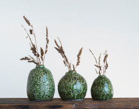 Distressed Green Terracotta Vases (Set of 3 Sizes)