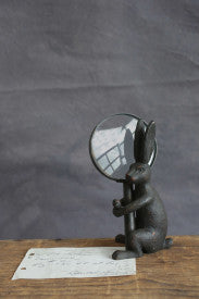 Pewter Rabbit Holding Removable Hand Magnifying Glass