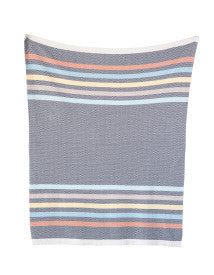 Grey Cotton Knit Baby Blanket with Multicolor Stripes