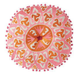 Round Pink & Orange Cotton Embroidered Pillow with Pink Pom Pom Trim