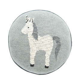 Round Grey Unicorn Cotton Knit Pillow
