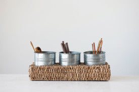 3 Metal Containers in Handwoven Bankuan Tray with Handles (Set of 4 Pieces)