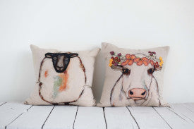 Square Cotton Pillow with Sheep Image