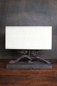 Rustic Birds-On-Branch Lamp with Rectangle Flax Shade