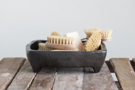 Footed Terracotta Tray with Metallic Reactive Glaze Finish (Each one will vary)