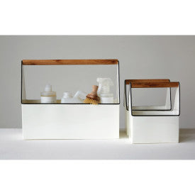 Set of 3 White Rectangle Metal Buckets with Wood Handles