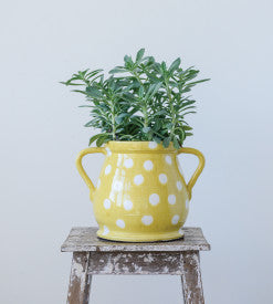 Yellow Decorative Terracotta Planter with White Dots and Handles