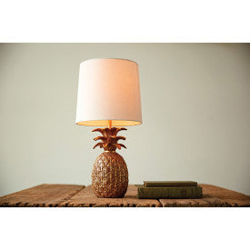Resin Pineapple Shaped Table Lamp with Distressed Finish & Linen Shade