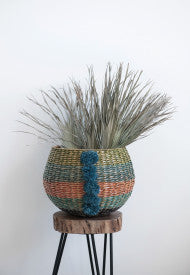 Handwoven Multicolor Cattail Basket with Raffia Pom Poms