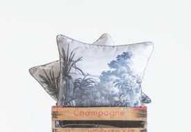 Square Black & White Pillow with Tropical Landscape Image