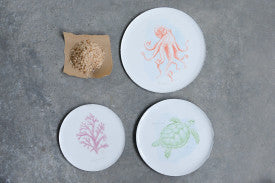 Set of 3 Enameled Tin Plates with Octopus, Turtle & Coral Images