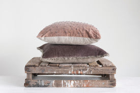 Reversible Square Cotton Velvet & Linen Pillow with Fringe