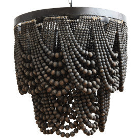 Black Metal Chandelier with Wood Beads