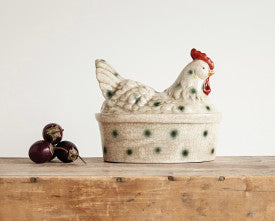 Stoneware Rooster Shaped Canister