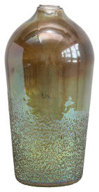 Seeded Glass Vase with Iridescent Finish