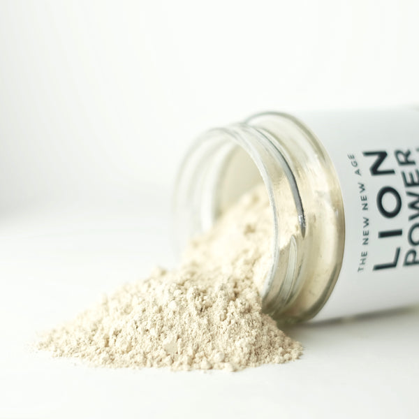A close up of Lion Power Potion, made with organic Maca and Lion's Mane Mushroom.