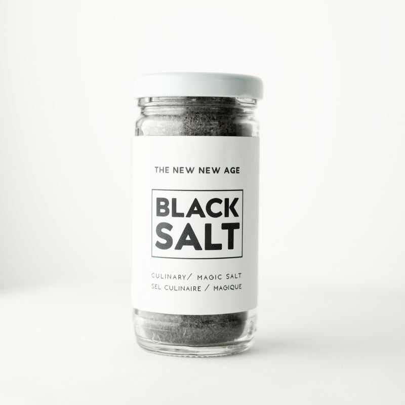 Jar of organic Black Salt, featuring charcoal and sage.
