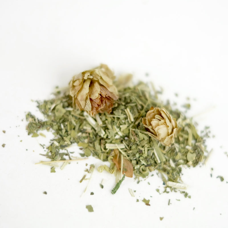 A close up of Mugwort herbal tea, called Dream Plants of the Wild Huntress