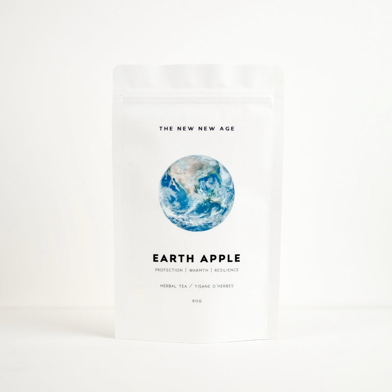 A bag of organic chamomile tea, called Earth Apple.