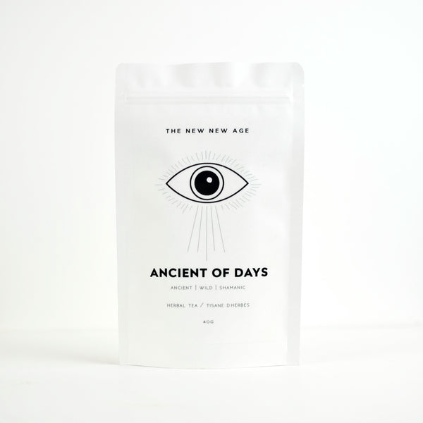 A bag of organic Liquorice tea made by The New New Age. This adaptogenic herbal tea is called Ancient of Days and features black tea.