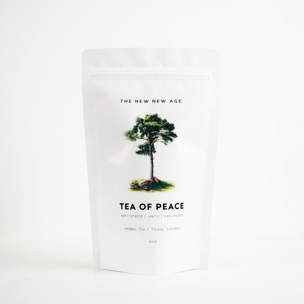 A bag of organic herbal tea called Tea of Peace, featuring eastern white pine, elder flower, yarrow and reishi mushroom.  Formulated by The New New Age.
