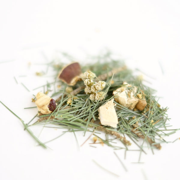A close up of organic herbal tea called Tea of Peace, featuring eastern white pine, elder flower, yarrow and reishi mushroom. Formulated by The New New Age.
