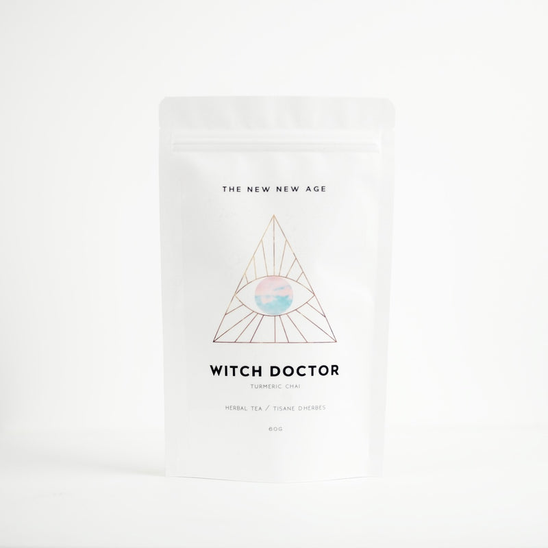 A bag of organic turmeric chai, called Witch Doctor. This tea is formulated by The New New Age and features pau d'arco, turmeric, sarsaparilla, ginger, burdock root, black peppercorns, star anise, cinnamon, cardamom, cat's claw, orange peel.