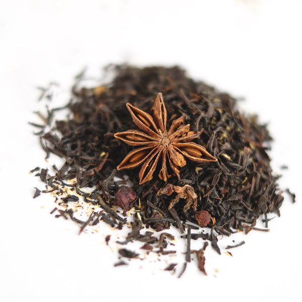 A close up of the organic Liquorice tea by The New New Age. The tea name is Ancient of Days, an adaptogenic black tea.