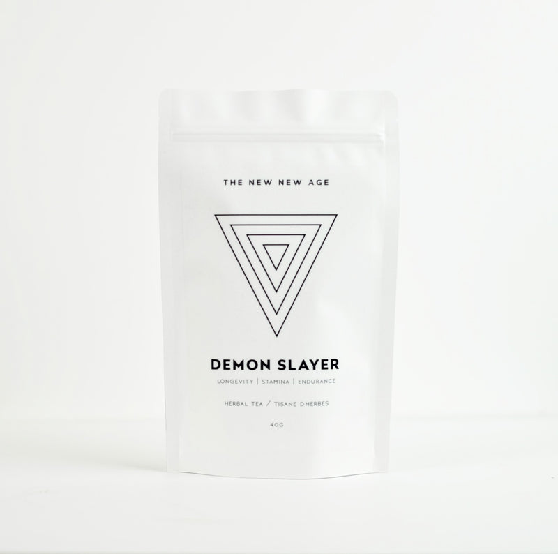 A bag of Rhodiola Root herbal tea, called Demon Slayer.