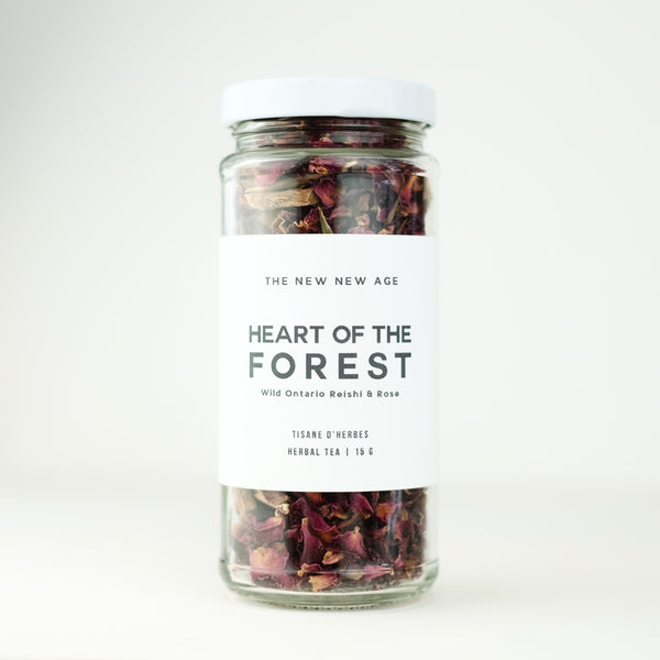 A jar of Rose & Reishi Mushroom tea, called Heart of The Forest, made by The New New Age.