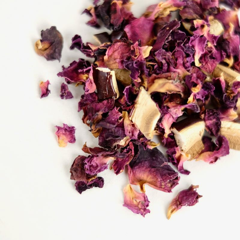 A close up of Rose & Reishi Mushroom tea, called Heart of The Forest, made by The New New Age.