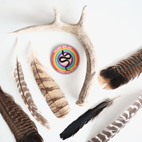 Forest protector club patch, surrounded by feathers and a deer antler from the forests we hope to protect.