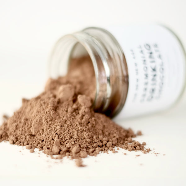 A close up of an herbal powder, called Ceremonial Drinking Chocolate.