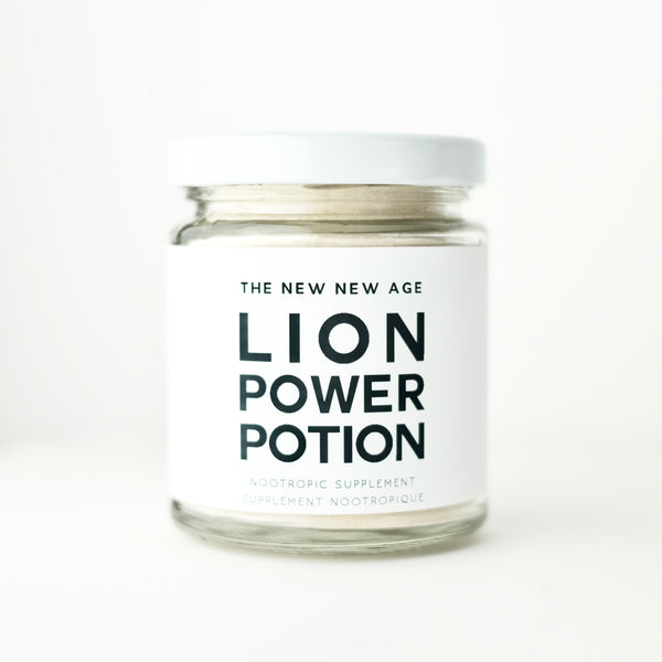 A jar of Lion Power Potion, made with organic Maca and Lion's Mane Mushroom.
