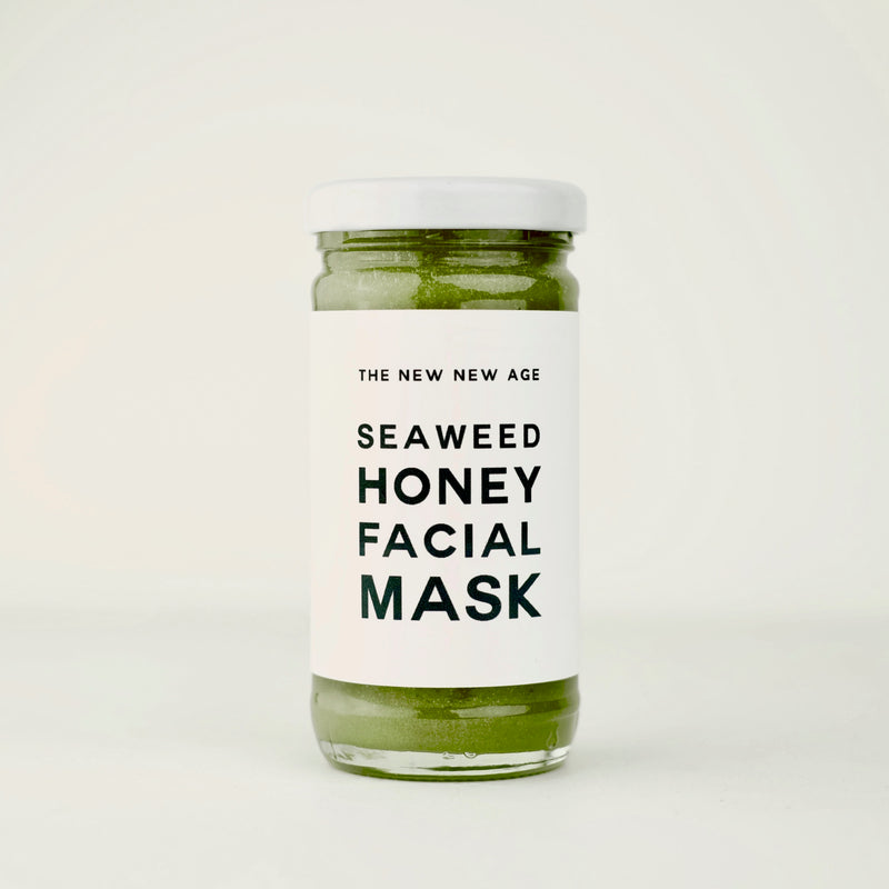 A jar of our Seaweed Honey Face Mask, featuring wildcrafted kelp from the North Atlantic ocean, certified organic spirulina and raw wildflower honey from Ontario, Canada.
