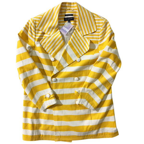 Jones New York Yellow White Striped Jacket