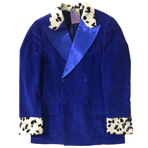Blue Silk Corduroy Cow Print Jacket