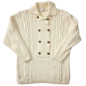 Perry Ellis Cream Double Breasted Shawl Sweater
