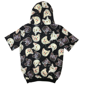 """Cat Space Head Pattern"" Short-sleeve Hoodie by ACDC RAG"