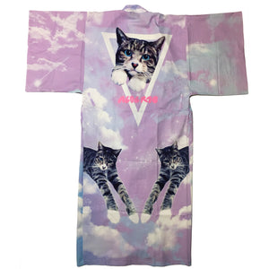 """Pastel Pink Blue Purple Space Cat"" Kimono by ACDC RAG"