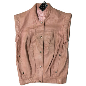 Pink Leather Sleeveless Jacket